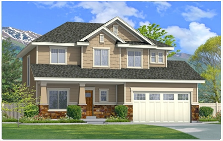 The Lincoln floor plan custom designed by Perry Homes, Utah.