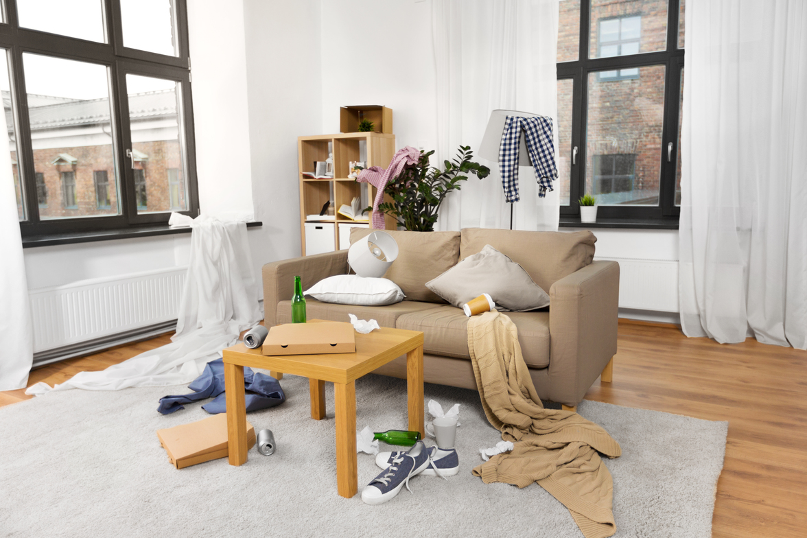 Utah home builders. Interior Of Messy Home Room With Scattered Stuff